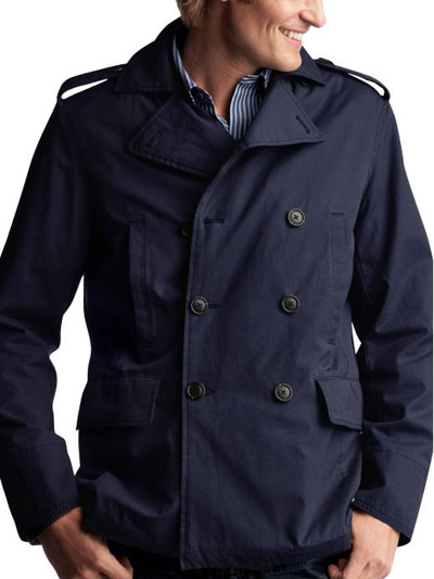 Men's Waxed Cotton Peacoat: classic style in a lightweight fabric ...