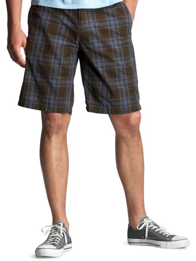 Men's Flat Front Plaid Shorts: dark plaid summer shorts ...