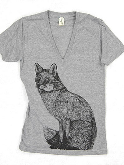 Supermaggie-Fox-Heather-Gray-Deep-V-Tee