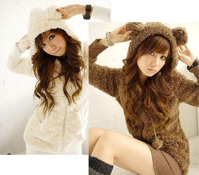 Womens-Boa-Parka-hoodie-with-Bear-Ears-Brown
