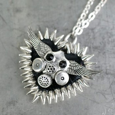 Black-Gas-Mask-Wings-Spiked-Heart-Necklace