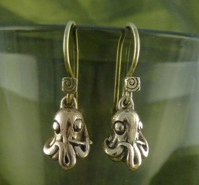 Bronze-Octopus-Earrings